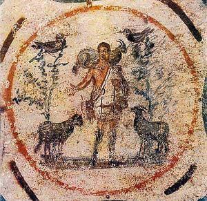 Malba z katakomb - Ježíš jako Dobrý pastýř.